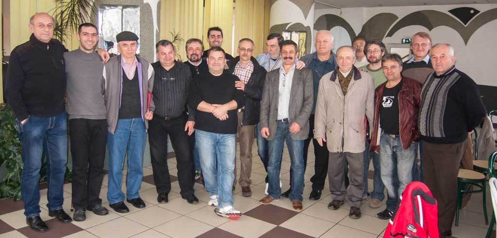 Some of the members of YO5KUC Ham Radio, Bistrița — From left to right: Dan Pui (YO5IN), Edmond Eduard Someșan (YO5VAE), Alexandru Burcu (YO5COG), Călin Bălan (YO5PCB), Nelu Ciocan (YO5OZQ), Septimiu Pop (YO5ER), Ioan Purcelean (YO5IP), Mircea Adrian Crișan (YO5CBX), Marius Nicolae Aldea (YO5AM), Vasile Safriuc (YO5DNA) , Tiberiu Sorin Toma (YO5CCR), Dan Sabău (YO5DGE), Attila Tökös (YO5OLD), Coman Pavel Pop (YO5QDX), Florin Prădan (YO5PLP), Grigore Ruscău (YO5PDB).
